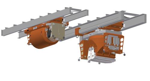 Das Gesamtgewicht einer Kübelbahn mit einem definierten Nutzvolumen von 2.500 Litern Beton beträgt 11.500 kg