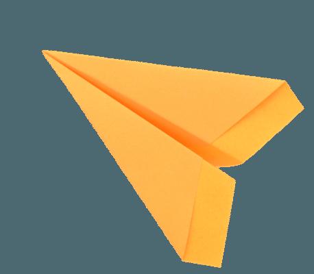 Willkommen - orange Papierflugzeug